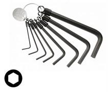 Комплект шестигранных коротких ключей на кольце