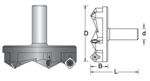 Фреза концевая для Слэбов удлиненная L80 сменные ножи D59x21 Z3 хвостовик 12